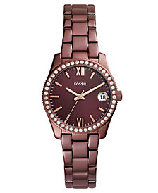 Fossil Women's Scarlette Red Stainless Steel Bracelet Watch 32mm