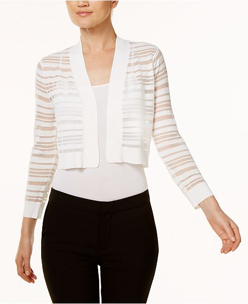 Calvin Klein Sheer-Stripe Shrug Cardigan
