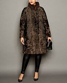 The Fur Vault Plus Size Mink-Trim Persian Lamb Coat