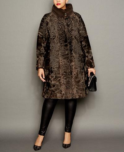 The Fur Vault Plus Size Mink-Trim Persian Lamb Coat