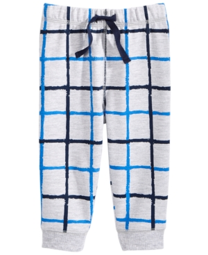First Impressions WindowpanePrint Jogger Pants Baby Boys (024 months) Created for Macys