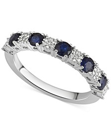 Sapphire (5/8 ct. t.w.) & Diamond Accent Ring in 14k White Gold, Also Available in Certified Ruby