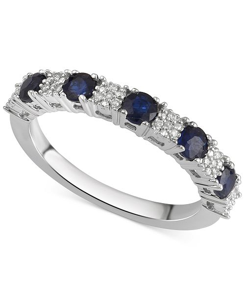 122881f28e74 Macy's Sapphire (5/8 ct. t.w.) & Diamond Accent Ring in 14k White ...