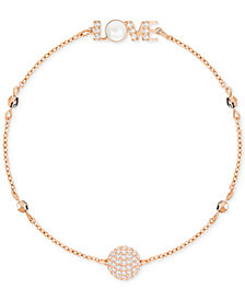 Swarovski Remix Collection Rose Gold-Tone Pavé & Mother-of-Pearl Love Magnetic Bracelet