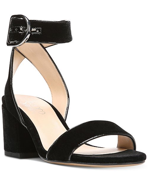 Franco Sarto Marcy Block-Heel Velvet Sandals