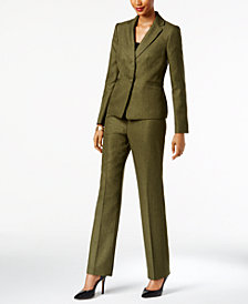 Le Suit Herringbone Pantsuit, Regular & Petite