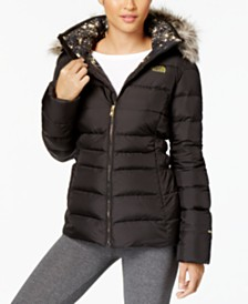 Womens north face clothing more macys the north face gotham faux fur trim hooded jacket sciox Image collections