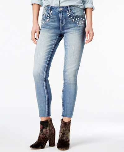 Rewind Juniors' Embellished Cropped Skinny Jeans