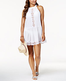 La Blanca Island Fare Cotton High-Neck Crochet-Trim Cover-Up