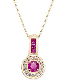 Ruby (3/4 ct. t.w.) & Diamond (1/5 ct. t.w.) Halo Pendant Necklace in 14k Gold