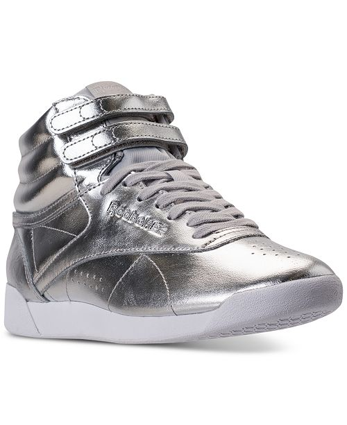a233b964d42 ... Reebok Women s Freestyle Hi Top Metallic Casual Sneakers from Finish ...