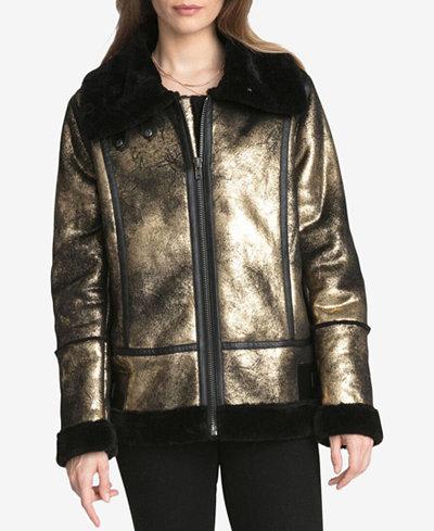 Avec Les Filles Metallic Faux-Shearling Coat - Coats - Women - Macy's