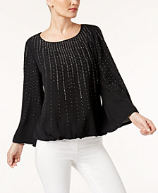 Alfani Petite Studded Angel-Sleeve Top, Created for Macy's