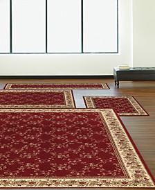 KM Home Florence Trellis Red 4-Pc. Rug Set