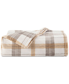 Vellux Allen Plaid Printed Tan King Plush Blanket