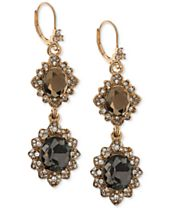 Marchesa Gold-Tone Pavé & Colored Stone Double Drop Earrings