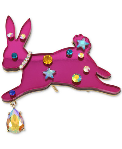 Betsey Johnson Gold-Tone Multi-Stone Pink Bunny Pin
