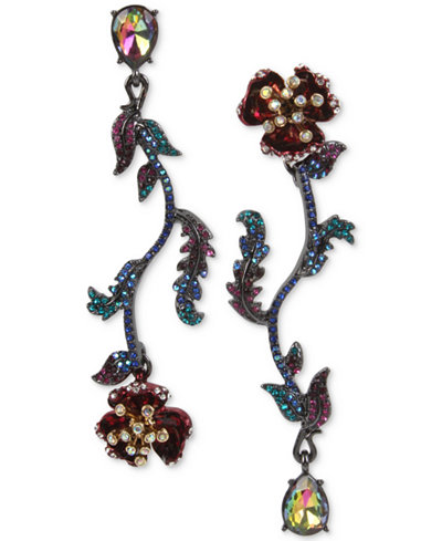Betsey Johnson Two-Tone Multi-Stone Flower Mismatch Earrings