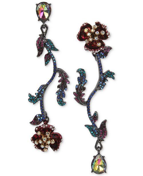 Betsey Johnson Two-Tone Multi-Stone Flower Mismatch Earrings