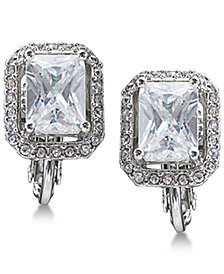 Carolee Silver-Tone Crystal Clip-On Stud Earrings