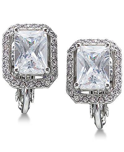Carolee Silver-Tone Crystal Clip-On Stud Earrings