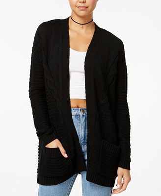 One Hart Juniors' Cable-Knit Oversized Cardigan - Juniors Sweaters ...