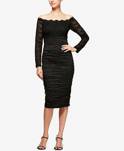 Alex Evenings Ruched Lace Off-The-Shoulder Dress