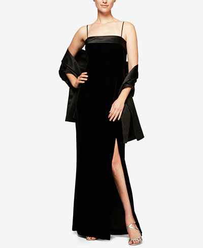 Alex Evenings Velvet Satin Column Gown with Shawl