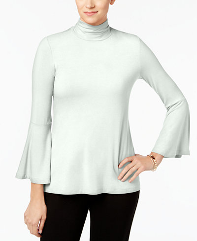 Alfani Mock-Neck Bell-Sleeve Top, Created for Macy's
