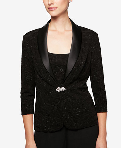 Alex Evenings Glitter Textured Jacket & Shell, Regular & Petite Sizes