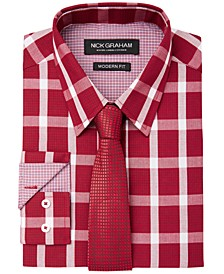 Men's Fitted Graph Buffalo Check Dress Shirt  & Textured Geo Tie Set