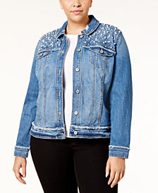 I.N.C. Plus Size Embellished Denim Jacket, Created for Macy's
