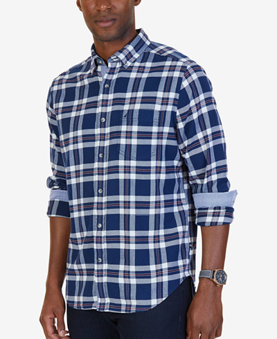 Nautica Men's Classic-Fit Royal Plaid Flannel Shirt - Casual ...