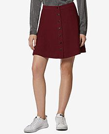 Avec Les Filles Button-Front A-Line Mini Skirt