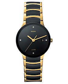 Rado Watch, Men's Centrix Jubile Diamond Dial (1/10 ct. t.w.) Black Ceramic and Gold-Tone PVD Bracelet R30929712