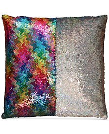 "Hallmart Collectibles Mermaid Colorblocked Rainbow Sequin 18"" Square Decorative Pillow"