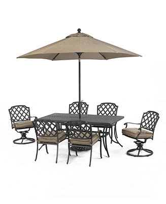 Grove Hill Outdoor Cast Aluminum 7 Pc Dining Set 72 X 38 Dining