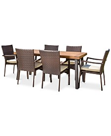 Tennon Outdoor 7-Pc. Dining Set, Quick Ship