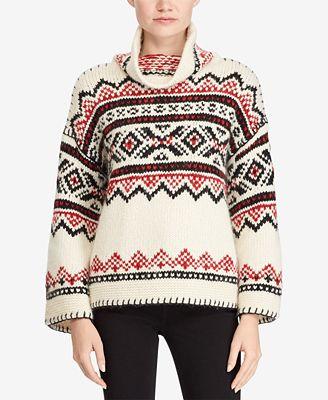 Polo Ralph Lauren Fair Isle Funnel-Neck Sweater - Sweaters - Women ...