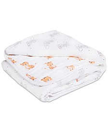 Baby Boys & Girls Cotton Elephant & Tiger-Print Muslin Blanket