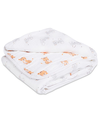 aden by aden + anais Cotton Elephant & Tiger-Print Muslin Blanket, Baby Boys & Girls