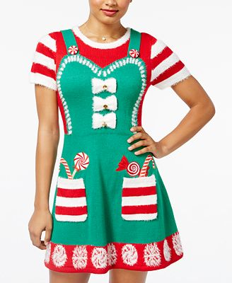 Hooked Up By Iot Juniors Candy Cane Apron Holiday Sweater