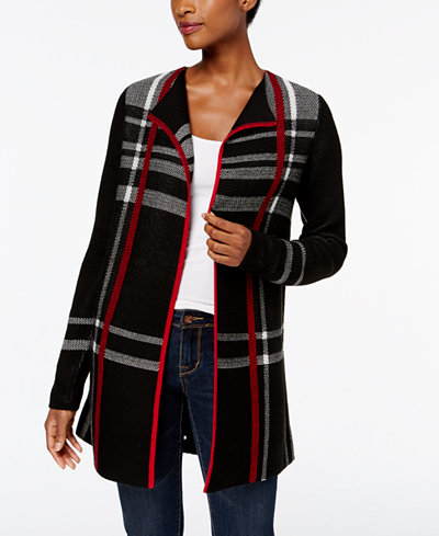 Charter Club Petite Plaid Duster Cardigan, Created for Macy's ...