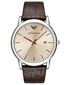 Emporio Armani Men's Brown Leather Strap Watch 43mm