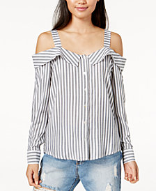 MINKPINK Striped Cold-Shoulder Shirt