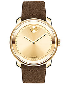 Movado Men's Swiss BOLD Cognac Suede Strap Watch 43mm