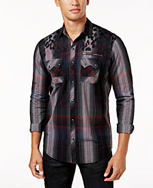 I.N.C. Men's Mixed-Print Shirt, Created for Macy's