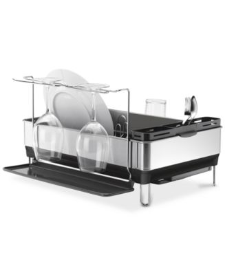 simplehuman Dish Rack, Steel Frame with Wine Glass Holder & Reviews - Kitchen Gadgets - Kitchen - Macy s