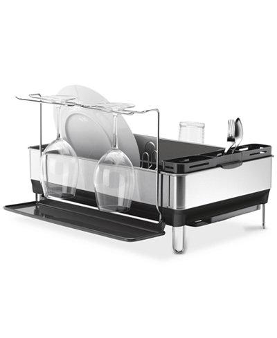 Simplehuman Dish Rack Steel Frame With Wine Glass Holder
