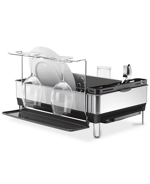 simplehuman Dish Rack, Steel Frame with Wine Glass Holder